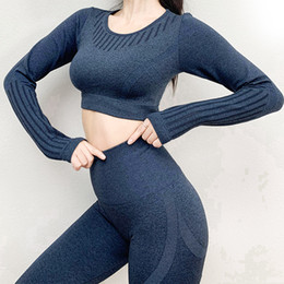 top yoga pants NZ - SVOKOR Women Yoga Set Seamless Hollow Breathable Gym Clothing Crop Top Leggings Suits Fitness Workout Sportswear Striped