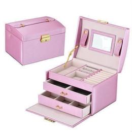 girls modern bedding 2019 - Double Drawer Hand-held 17.5*14*13cm Three-layer Storage Box Dressing Table PU Girl Gift Jewelry Box discount girls mode