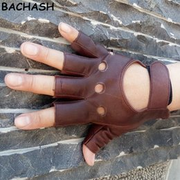 Leather Half Gloves For Men Australia - BACHASH 100% Goat Leather Drop Shipping 2018 Fashion Half Finger Driving Women Gloves 1 Pcs Leather Gloves For Women Brow Solid