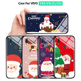 xmas iphone Canada - For VIVO Y85 V9 Z1 Z1i Shockproof Santa Claus Christmas Phone Case Xmas ELK Snowman Deer Tempered Glass Casing Protective Cover