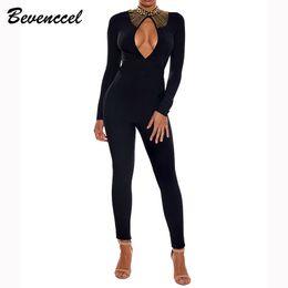 d661431b2d85 Hot Sale 2019 New Black Sexy Bandage Jumpsuit Long Sleeve Beads Split  Bodycon Celebrity Party Bodysuit Elegant Women Jumpsuit