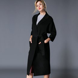 Hand Slim Belt NZ - Wool overcoat in autumn and winter women's hand-sewn double-sided cashmere overcoat high-grade European and American loose wool overcoat