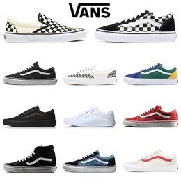 001b2f9e Venta al por mayor Furgonetas Old Skool zapatos casuales hombres mujeres  zapatos para correr Yacht Club blanco negro moda Sneaker Trainer para  hombre lona ...