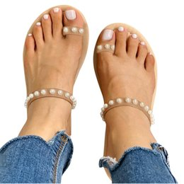 $enCountryForm.capitalKeyWord Australia - Shoes Woman Fashion Toe Ring Beaded Sandals Pearl Beach Slippers Flat Slides Shoes zapatos de mujer Dropshipping *