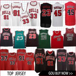 4e2f6e95e17 Men Bulls Jersey 91RODMAN 33 PIPPEN 45 23 MJ Retro jersey basketball Jersey  men fans clothes printed