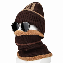 Male Hat Scarf Australia - Men 2pcs Set Winter Hats Scarf Warm Fleece Letter Knitted Caps Ring Scarf Male Outdoor Ski Snow Cycling Hats Scarves Accessories