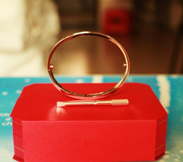 $enCountryForm.capitalKeyWord Australia - love Bangles Silver Gold Rose Gold Screw Bracelet cuff Bangle screwdriver wedding couple original box set