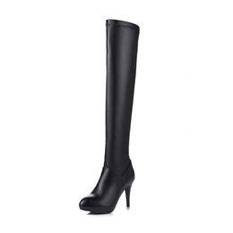 $enCountryForm.capitalKeyWord UK - Sexy Spike Heel Slender Slim Over The Knee Boots Women Elasticity PU Leather Thigh high Boots Femlae Steel Pole Dance Boots