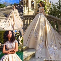 $enCountryForm.capitalKeyWord NZ - 2019 New Luxury Champagne A Line Wedding Dresses Short Sleeves Lace Appliques Court Train Open Back Plus Size Sexy Formal Bridal Gowns