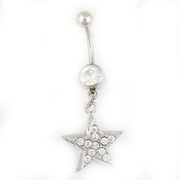 factory rings NZ - D0362-1 ( 2 colors ) Nice style star Navel Belly ring 10 pcs CLEAR and pink stones drop shipping factory price