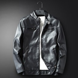 designer motorcycle jackets NZ - Ins Brand winter Zipper Designer black Baseball men's motorcycle pu leather jacket solid color stand collar flight jacket coat M-4XL