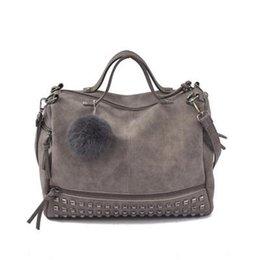 $enCountryForm.capitalKeyWord Australia - Vintage Nubuck Leather Female Top-handle Bags Rivet Larger Women Hair Ball Shoulder Bag Motorcycle Messenger Bag NA-02