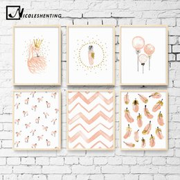 Girls Bedroom Pictures Australia - Nursery Girl Bedroom Decoration Flamingo Feather Wall Art Canvas Poster and Print Cartoon Painting Wall Pictures for Living Room