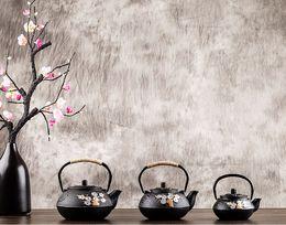 Old Teapots UK - Old Chinese Cast Iron Teapot Kettle Plum Blossom Teapots 300ml   600ml  800ml kitchen utensil gifts