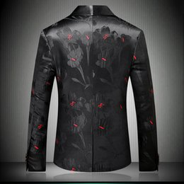 designer slim fit casual suit Australia - Fashion-Men Stylish Floral Blazers Designer Brand Slim Fit 2018 Autumn Winter New Smart Casual One Button Mens Black Suit Jacket 9008