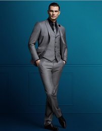 $enCountryForm.capitalKeyWord Australia - 2019 Grey Mens Suit Three Pieces Customize Slim Fit Groom Tuxedos Groomsmen Side Vent Wedding Best Man Suit Men's Suits dsy161