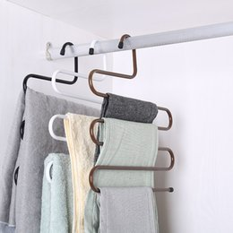 Wholesale lingerie scarf for sale - Group buy New Wardrobe Storage S Type Pants Trousers Hanger Multi Layers Stainless Steel Clothing Towel Storage Rack Closet Space Saver