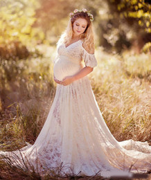 0576e4e1bc7 Chic Lace Maternity Dresses For Photo Shoot With Short Sleeves Split Front Pregnant  Gown Court Train Custom Made Maxi Dress