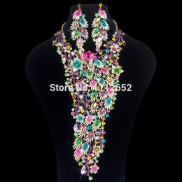 red bird costume 2019 - Luxury Bridal Jewelry Sets Gorgeous Peacock Bird Rhinestones Necklace Earrings For Brides Wedding Prom Dress Costume Acc