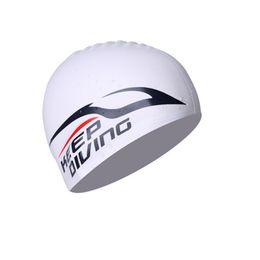 Venta al por mayor de 100% de silicona Gorro de baño para las mujeres hombres niños de los niños de pelo largo de la capilla de sílice ultrafino orejas sombrero Proteger a prueba de agua