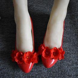 Elegant Flower Girl Shoes Australia - RED sweet flowers girls party flats shoes handmade unique sweet elegant ladies dinner proms princess dress red flats shoe