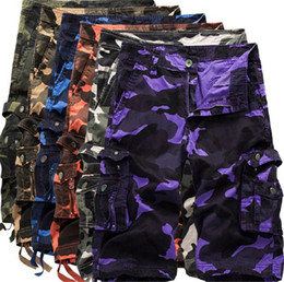 Wholesale shorts for mens for sale - Group buy Plus Size Camouflage Cargo Shorts for Man Summer Knee Length Loose Multi Pockets Shorts Casual Mens Beach Shorts