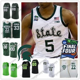 98d661307d68 Custom Michigan State Spartans Basketball White Green Any Name Number 1  Joshua Langford 5 Cassius Winston 2019 Final Four MSU Retro Jerseys