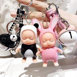 Keys Bell Australia - Creative new cartoon sleep cute doll key chain leather rope bell pendant men and women car pendant bag pendant