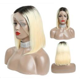$enCountryForm.capitalKeyWord Australia - Lace Front Human Hair Colorful Bob Cut Wigs 1b 613 color Straight Transparent Short Wigs 130% Honey Blonde ombre color