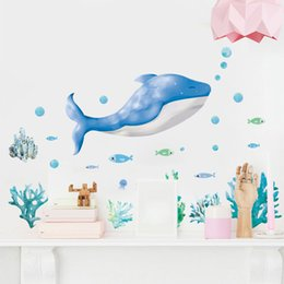 $enCountryForm.capitalKeyWord Australia - New Underwater World Small Fish dolphin Children Bedroom Living Room Background Removable Wall Stickers Home Décor