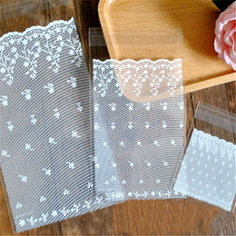 Adhesive cellophAne bAgs online shopping - White lace Self Adhesive Party Bakery Bread Plastic Cookies Bags Gift Cellophane Bags Candy Biscuit White Bags