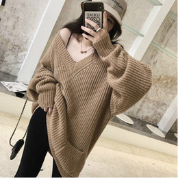 Arm tAssels online shopping - V neck DEAT New Autumn And Winter Lantern Sleeves Broken Hollow Arm Loose Pullover Knits Sweater Female Top L819