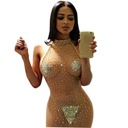 Wholesale New New Fashion Women Sexy Halter Net Yarn Rhinestone See through Slim Backless Elastic Dress New Backless Dress evening