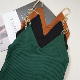 Girls Vest Knitting Australia - Fashion Women Chain Knitted Tank Top Summer Autumn Sexy V Neck Strap Camis Club Girls Sleeveless Short Camisole Vest Tops S1198 Q190522