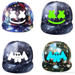 baseball cap styles Australia - DJ Marshmellow Baseball Cap For Man Women Kid Galaxy Luminous Hip Hop Marshmallow Smiley Face New Summer Ball Hat Couple 24 styles