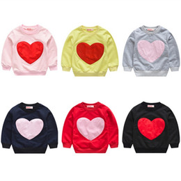 baby love wholesale clothing NZ - Kids Love Sweatshirt Heart-shaped print Sweaters children Girls Tops Long sleeve T shirts 2019 Spring Autumn Tees baby Clothing C5767