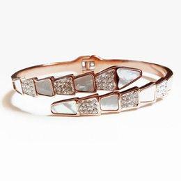 $enCountryForm.capitalKeyWord Australia - Fashion Titanium Steel 925 Sterling Silver Seashell Snake Bangle Bracelet Jewelry for Women Girls Opening End Champagne Gold Color