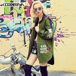 Long Motorcycle Jackets Australia - European American long irregularities Jackets Women 2019 New Army Green Hoodie Jacket Zipper Motorcycle Coat Loose windbreaker