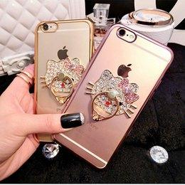 Discount ring holder phone case - For iPhone 7 Case Cell Phone Ring Holder Cases Bling Diamond Rhinestone Kickstand Cases Crystal TPU Cover for Iphone 6 6