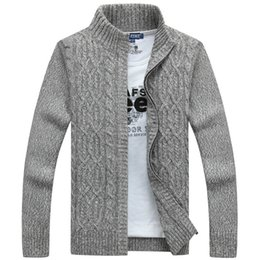 Chinese  2019 Mens Sweaters Winter Clothes Brand Man Sweater Casual Men Cardigan Thick Cashmere Sweater Outerwear Winter Gray Blue manufacturers