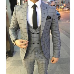 New Check Suits Australia - New Wedding Tuxedos Classic Gray Check Slim Fit Men's Suits Formal British Plaid Groom Tuxedos Custom Made Jacket Pants
