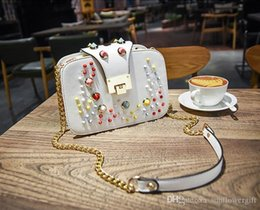 colored rivets NZ - New The Cutest Girl Colored Rivet Fashion Small Shoulder Bag Charm Chain Lady Women Shoulder Bag