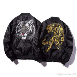 jacket tiger Canada - New Bomber Mans Jackets Embroidery Golden&white Tiger Jacket Mens MA1 Pilot Bomber Jacket Male Embroidered Thin Coats