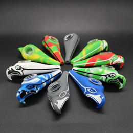 shisha smoking pipes Canada - Seahawks Eagle Silicone Rubber Pipe With Glass Bowl Colorful Tobacco Shisha Smoking Pipe Length 120.161 Mm