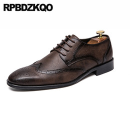 wingtip brown leather shoes NZ - 47 wingtip fashion Italy dress men shoes casual leather solid prom brown british style 46 plus size party office oxfords wedding
