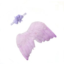 Wholesale Newborn Baby Feather Lace Headband Angel Wings Photography Props For Infants Children Kid Babies Baby Clothing Accessories New