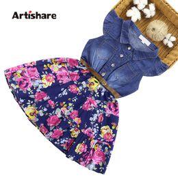 $enCountryForm.capitalKeyWord Australia - Artishare Denim Dresses For Girls Floral Kids Dress With Belt Casual Dress Girl Party Teenage Kids Clothes Girls 6 8 10 12 14 MX190725