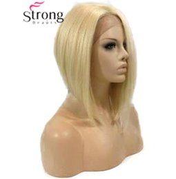 French Blonde Lace Wigs Australia - Blonde Lace wig Short Bob Straight synthetic Lace front wigs heat resistant