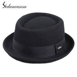a9ce74b32e Sedancasesa 100% Australia Wool Men's Fedora Hat Pork Pie Hats For Classic  Church Wool Felt Hat 2019 New Autumn Winter Y19052004