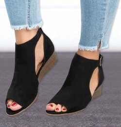big toe sandals Canada - Summer Sandals Women Peep Toe Wedges Buckle Strap Shoes Casual Open Toe Flock Big Size Woman Wedge Heels Sandals